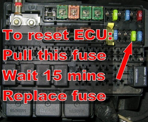 Visual: How to reset ECU without pulling Neg Battery cable